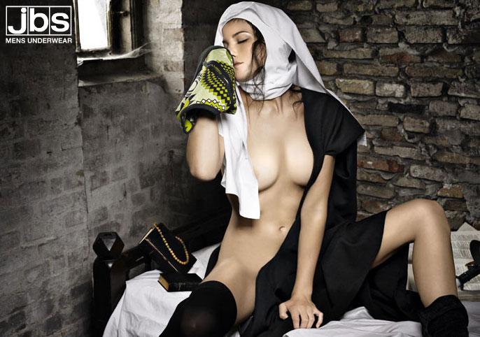 JBS-reklame med nonne